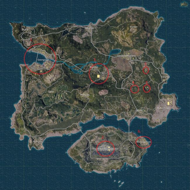 Best Loot Locations in PUBG Map